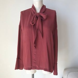 Theory Tops - Theory Scarf Ribbon Burgundy Top